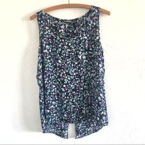 Express Floral Open Back Blouse Women's Small
